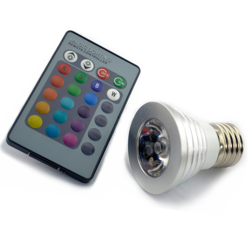 4x gu10 e27 e14 mr16 16 color changing rgb led light bulb. Black Bedroom Furniture Sets. Home Design Ideas