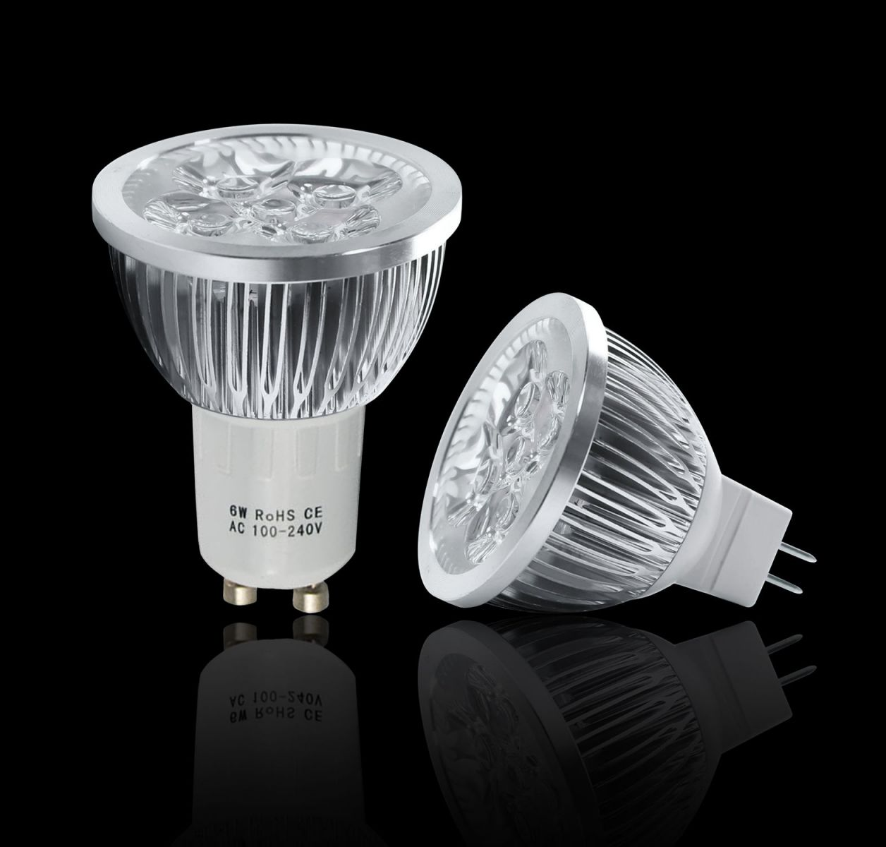 10 x gu10 mr16 led lamps 6w high power spotlight day. Black Bedroom Furniture Sets. Home Design Ideas