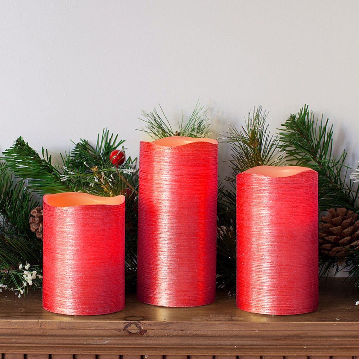 3pc wax scented candle vanilla mood flameless pillar light. Black Bedroom Furniture Sets. Home Design Ideas