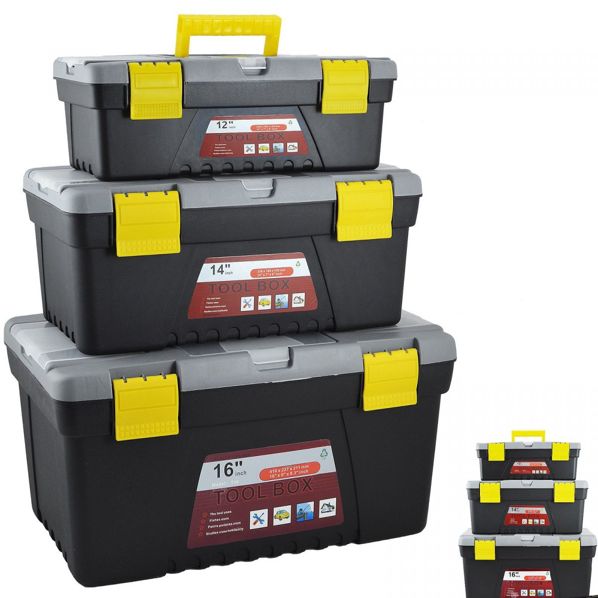 3pc plastic tool box chest set handle tray compartment. Black Bedroom Furniture Sets. Home Design Ideas